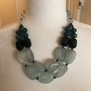 Turquoise & black statement necklace